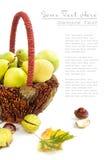 Herbstkorb mit Birnen und Kastanien Lizenzfreies Stockbild