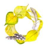 Herbstkranzrahmen mit gelbem Herbstlaub und Federn Vektor Abbildung