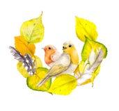 Herbstkranzrahmen mit gelben Blättern, Federn und Vogel Vektor Abbildung