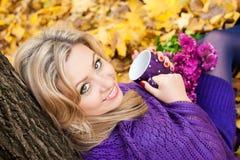 Herbstlächeln Stockfoto