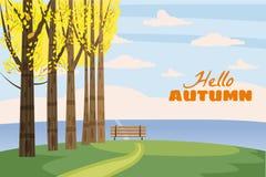 Herbstlandschaft, Bäume mit gelben Blättern, einsame Bank für Betrachtung der Herbstnatur, Vektor, lokalisiert, Karikatur vektor abbildung
