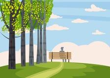 Herbstlandschaft, Bäume mit gelben Blättern, einsame Bank für Betrachtung der Herbstnatur, Vektor, lokalisiert, Karikatur stock abbildung