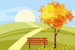 Herbstlandschaft, Baum mit gefallenen Blättern, Holzbank, Panorama, herbstliche Stimmung, Gelb, Rot, orange Blätter, Karikatur lizenzfreie abbildung