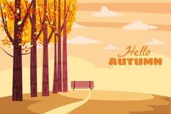 Herbstlandschaft, Fallbäume mit Gelb verlässt, einsame Bank für Betrachtung der Herbstnatur, der Vektor, lokalisiert vektor abbildung