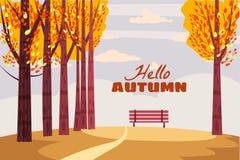 Herbstlandschaft, Fallbäume mit Gelb verlässt, einsame Bank für Betrachtung der Herbstnatur, der Vektor, lokalisiert stock abbildung