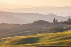 Herbstlandschaft - gewellte Hügel und Felder bei Sonnenaufgang Lizenzfreies Stockfoto