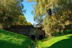 Herbstlandschaft mit Brücke in Pushkin, Lizenzfreie Stockfotografie