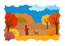 Herbstlandschaft mit einem Mädchen, einem Hund und Blättern lizenzfreie abbildung
