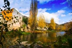 Herbstlandschaft mit Fluss Lizenzfreie Stockfotografie