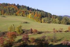Herbstlandschaft mit Hügel und bunten Bäumen Stockfotos