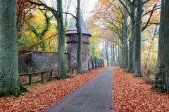 Herbstlandschaft mit Straße Lizenzfreie Stockfotografie