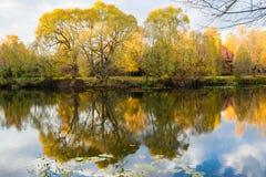 Herbstlandschaft mit Wasser stockfotografie