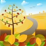 Herbstlandschaft und bunte Blätter Stockfoto