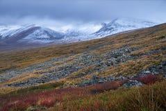 Herbstlandschaft von Altai Sonnenuntergang in der Steppe, schöner Abendhimmel mit Wolken, Plato Ukok, niemand herum, Altai, Sibir Lizenzfreies Stockfoto