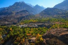 Herbstlandschaft von Bergen in Gilgit Baltistan, Pakistan lizenzfreies stockfoto