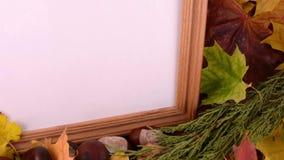 Herbstlaub, Ahorn, Viburnum, Kiefernkegel, Eichel und Nuss auf hölzernem Beschaffenheitshintergrund mit leerem Kopienraum auf Fot stock video footage