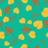 Herbstlaub auf Smaragdgrün Stockfotografie