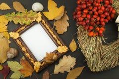 Herbstlaub über hölzernem Hintergrund mit Kopienraum Erinnern an November Dekoration von trockenen Blättern von Bäumen Lizenzfreie Stockfotos