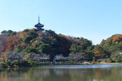 Herbstlaub im Sankeien-Garten, Yokohama, Kanagawa, Japan Lizenzfreie Stockfotos