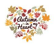 Herbstlaub mit Text in Form des Herzens lizenzfreie abbildung