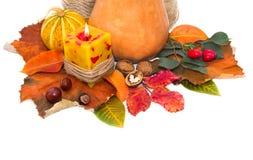 Herbstlaub und Kürbis Stockfoto