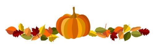 Herbstlaub und -kürbis Stockbild