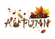 Herbstlaubkartendesign auf weißem Hintergrund Stockfotografie