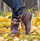 Herbstlederstiefel Stockfoto