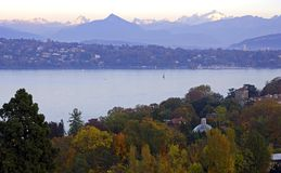 Herbstleuchte durch den See Stockfotografie