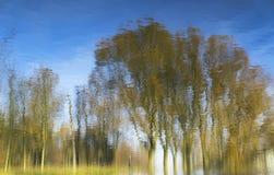 Herbstliche Baumreflexionen in geplätschertem Wasser Stockfotografie