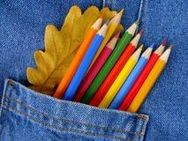 Herbstliche Farben in der Tasche Stockfotografie