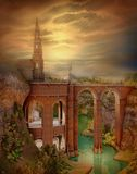 Herbstliche Landschaft mit einem Schloss lizenzfreie abbildung