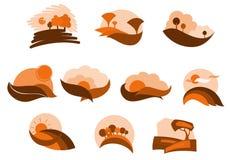 Herbstliche Naturikonen und -symbole Lizenzfreie Stockfotos