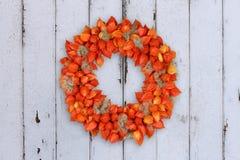 Herbstlicher Dekorations-Kranz mit Physalis und Withywind auf Schmutzhintergrund stockfoto