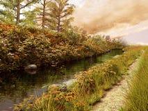 Herbstlicher Fluss und Pfad vektor abbildung