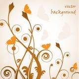 Herbstlicher Hintergrund mit Auszug pflanzt vektor abbildung