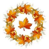 Herbstlicher Kranz von Ahornblättern vektor abbildung