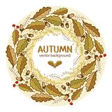 Herbstlicher Kranz von Eichenblättern stock abbildung