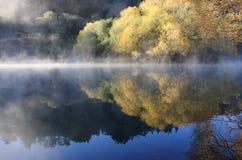 Herbstlicher Nebel über Wasser Stockfotos