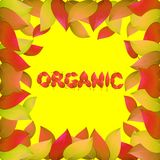 Herbstlicher organischer Hintergrund mit gelben Blättern Helle Illustration auf dem Thema des Herbstes Stockbild