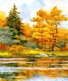 Herbstlicher Wald auf dem See