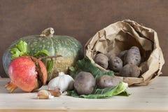 Herbstliches Lebensmittel und Früchte, biologisches Lebensmittel lizenzfreie stockbilder