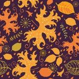 Herbstliches Muster mit bunten Blättern stock abbildung