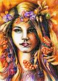 Herbstmädchen. Lizenzfreie Stockfotos