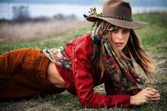 Herbstmodefrau Lizenzfreie Stockbilder