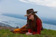 Herbstmodefrau Stockfoto
