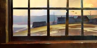 Herbstmorgenansicht vom Fenster Skizzieren Sie die Landschaft Gezogene ländliche Landschaft Stockfoto