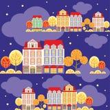 Herbstnachtstadtmuster Lizenzfreie Stockbilder