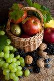 Herbstnahrungsmittel in einem Korb Lizenzfreies Stockfoto
