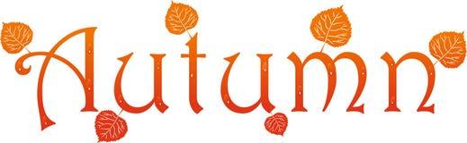 Herbstname mit Blättern und Tropfen vektor abbildung